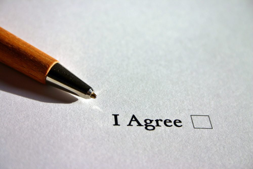 Agreeing to sign a waiver form