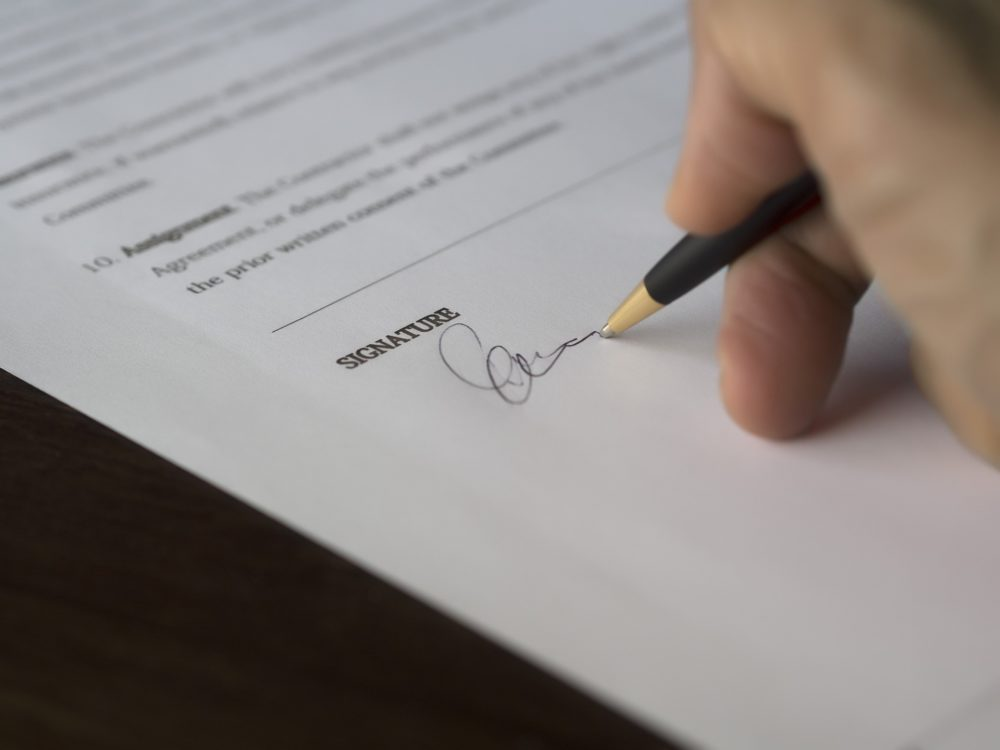 signing a waiver form